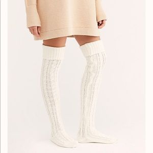 Free people alpine cable over the knee socks new